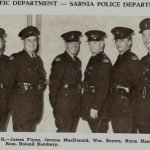 1958 Traffic Division.   L to R: J. Flynn, J. MacDonald, W. Brown, N. Hambly, D. Ross, R. Bambury