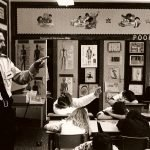 Constable Mike Callander with kids in classroom 1988-1989